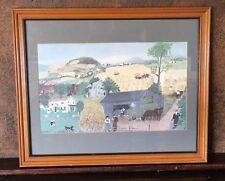 18749 Vintage Grandma Moses FARM HARVEST Print from 1960's~ Orig Frame