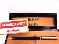 Penna stilografica RONSON blu sfumature nere | finiture Oro 18ct | Fountain pen