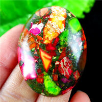 Rainbow Sea Sediment Jasper & Pyrite Oval Cab Cabochon 40x30x8mm DIY
