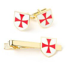 More details for new masonic knights templar kt cufflinks & tie slide set