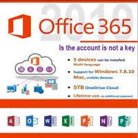 MS Office365 PRO PLUS Licenza a vita 5 dispositivi 5TB Onedrive office2019/2016