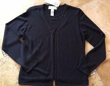 Norton McNaughton Dark Grey Jeweled  Prodigies Sweater Set NWT MED Style A510A2G