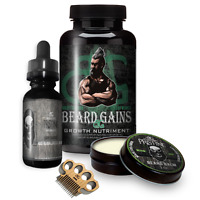 BEARD GROWTH OIL W/ BALM, BEARD GROWTH VITAMINS &MUSTACHE COMB |BEARD GROWTH KIT