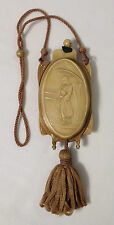 Molded Asian scene on this beautiful tan CELLULOID compact purse circa 1920s