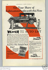 1928 PAPER AD Weaver Service Station Garage Lift Car Auto Automobile