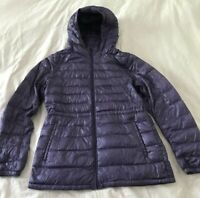 UNIQLO Quilted Jacket Down Filled Hood Lightweight / Packable Hip Length Purple
