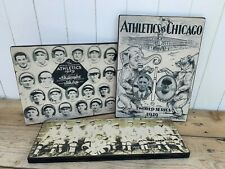 Antique Rustic Style Lot of 3 Philadelphia Athletics Wooden Sign Plaques