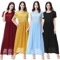 Muslim Short Sleeve Long Robe Women Lace Crochet Abaya Party Maxi Kaftan Dress