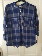 Monsoon Blue & White Check Linen Shirt. Size 22. BNWT