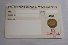 NOS Open/Blank White OMEGA Watch International Warranty Card w/ Source Code ONLY