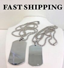 """Men's Stainless Steel 50-40mm DOG TAGS,Pendant 24"""" Ball Chain Necklaces + BOX"""
