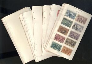 US, Amazing old time assortment of Stamps hinged on small pages