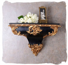 Antique style wall console shelf rococo style black gold console wall mounting