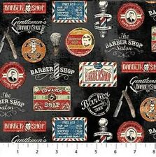 Barber Shop Fabric - Antique Vintage Signs on Black - Northcott YARD