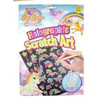 Children's Unicorn Holographic Scratch Art Set With 2 Cards, Stencil And Tool -