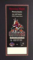 96 Phoenix Coyotes First NHL Hockey Ticket Inaugural Season Vs San Jose Sharks