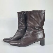 Vintage Women's Cole Haan Boots Size 9 AA Country Brown Leather Heeled Narrow