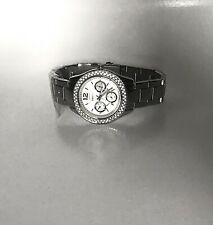 FOSSIL STELLA Watch ES3588 Stainless Steel, Crystal Encrusted Bezel, New in Tin