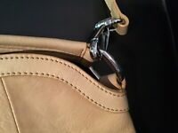 B Makowsky Tan Leather Satchel Removable Shoulder Strap Handbag Purse CLEAN!
