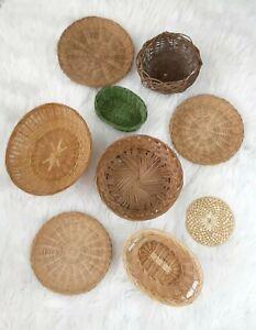 Set of 9 Decorative Boho Farmhouse Wall Baskets Wicker Rattan Plate Baskets