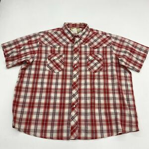 Wrangler Pearl Snap Shirt Mens 2XL XXL Red Maroon Plaid Western Cowboy Casual