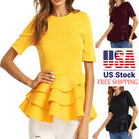 Summer Womens Short Sleeve Vintage Layered Ruffle Hem Fit Blouse T Shirt Tops US