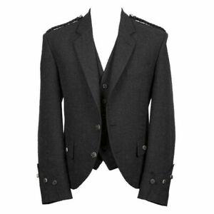 Scottish Argyle Tweed Crail Kilt Jacket And Vest - Grey Jacket 100% Melton Wool
