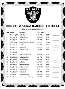 Las Vegas Raiders Football - 2021/2022 Large METAL Magnet Schedule