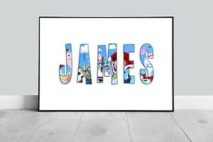 PERSONALISED TOY STORY NAME PRINT POSTER CHILDRENS BOY GIRL ROOM WORD ART GIFT
