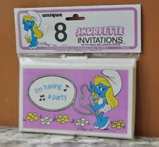 Smurf Smurfette Birthday Party Invitations Vintage 1982 - New In Package 8