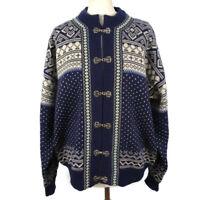 WINDFJORD Norway Blue Pure New Wool Christmas Cardigan Size Medium Mens Womens