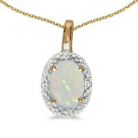 "10k Yellow Gold Oval Opal And Diamond Pendant with 16"" Chain"