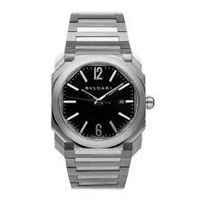Bulgari Octo Auto 41mm Steel Mens Bracelet Watch Date Black Dial 102031