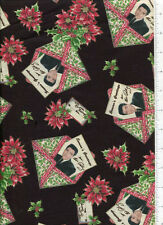 ~ ELVIS PRESLEY CHRISTMAS  CARD SEASON'S GREETINGS ~ fabric black