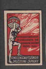 Ancienne   étiquette   Allumettes   Tchécoslovaquie  L92 Homme Globe    2