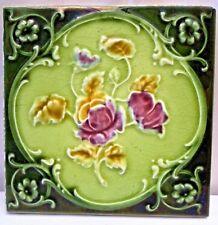 TILE VINTAGE PORCELAIN ROSE PURPLE ENGLAND ART NOUVEAU MAJOLICA COLLECTIBLES#110