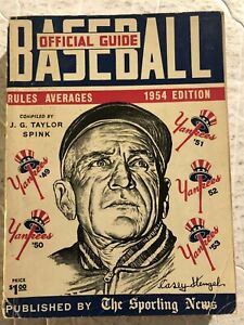 1954 Baseball Guide New York Yankees CASEY STENGEL Mickey MANTLE Ted WILLIAMS