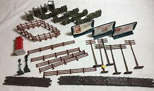 HO Railroad Accessories, Lemax Colonial Stone Wall~Telephone Poles~Signs~Fence