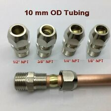 "Compression 10mm Tube Tubing OD x 3/8"" NPT Male Pipe Brass Fitting N-J67"