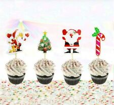 12 X Christmas Party Cake Picks / Cupcake Toppers / Flags Santa,Tree Decoration
