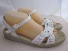 SAS Sandals White Leather Double Buckles Straps Ankle USA 10 N Narrow