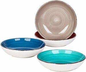 """Vancasso Bella 4pcs 8.6"""" Soup Plates Set 4 Colours Porcelain Pasta Salad Bowls"""