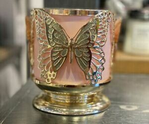 Bath and & Body Works 3 Wick Butterfly Butterflies Candle Holder Sleeve Pedestal