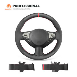 Black Leather Suede Steering Wheel Cover for Infiniti FX35 FX37 Nissan Juke 370Z
