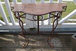 Shabby Konsolen Beistelltisch Haus Garten Tisch Eisen 74x85x42cm Antik Braun NEU