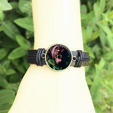 Glass Cabochon Leather Charm Bracelet Black Panther Black Bangle 20 mm