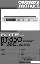 Rotel RT-560 Tuner Owners Manual