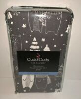 "CUDDL DUDS Set of 2 Standard Flannel Pillowcases ""GRAY BEARS"" NWT Warm Cozy"