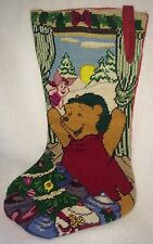 """Winnie Pooh Stocking Cross Stitch Needlepoint 1995 Christmas At Our House 18"""""""