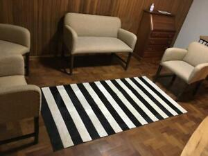 PATCHWORK COWHIDE RUG CARPET AREA LEATHER COW HIDE HAIR ON BLACK&WHITE 6ftx4ft